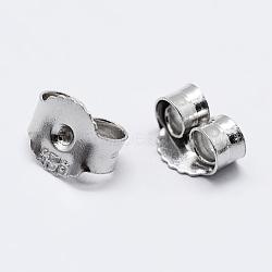 Écrou d'oreille en 925 argent sterling, sculpté 925, platine, 5x6x3mm, Trou: 0.8mm(STER-K167-039P)