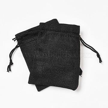 Sachet d'emballage en toile de jute nbeads®, sacs à cordonnet, noir, 12x9 cm(ABAG-NB0001-02)