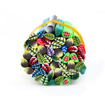 Полимерная глина украшения искусства ногтя, Модные уходу за ногтями, трубы без отверстий , перо, разноцветные, 5 см(MRMJ-R052-130A)