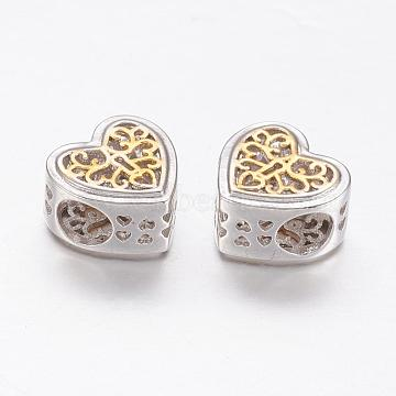 Brass European Beads, Large Hole Beads, Heart, Real Platinum Plated & Real 18K Gold Plated, 11x12x7mm, Hole: 4.5mm(ZIRC-P066-30P)