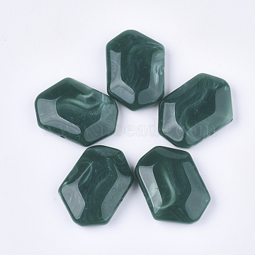 Acrylic Beads, Imitation Gemstone Style, Faceted, Polygon, Teal, 33x48x13mm, Hole: 2.5mm(X-OACR-T011-165A)