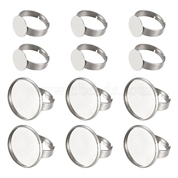 Fashewelry Adjustable 304 Stainless Steel Finger Rings Components, Pad Ring Base Findings, Flat Round, Stainless Steel Color, Tray: 12mm; 17mm; 20pcs/set(STAS-FW0001-01)
