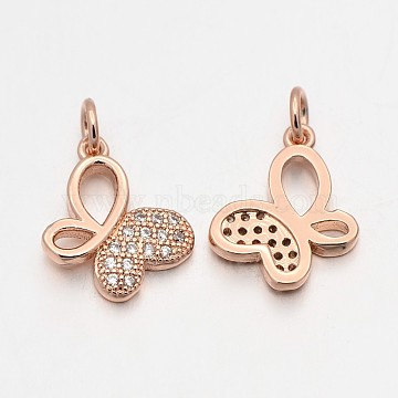 Rose Gold Butterfly Brass + Cubic Zirconia Pendants