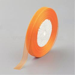 """Ruban d'organza, orange, 3/8"""" (10 mm); 50yards / roll (45.72m / roll), 10 rouleaux / groupe, 500yards / groupe (457.2m / groupe)(RS10mmY016)"""