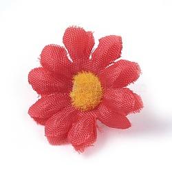 tournesol en tissu de soie, tête de fleur artificielle, pour la décoration de fête de mariage, rouge, 40x16~17 mm; diamètre intérieur: 2 mm(DIY-WH0134-A03)