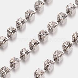 2.5 mm de large catégorie de ton argent un vêtement décoratif de chaînes en cristal en laiton de parage strass grade A tasse de strass grade A(X-CHC-S8-S)