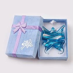 Pendentifs en verre de feuille d'argent, papillon, bleu foncé, environ 40 mm de large, Longueur 49mm, Trou: 5mm(X-SLSP245J-1)
