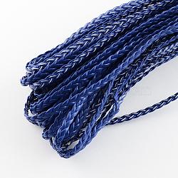 Cordon tressé en similicuir, accessoires de bracelet à chevrons, darkblue, 5x2 mm; 100 m / bundle(LC-S002-5mm-07)