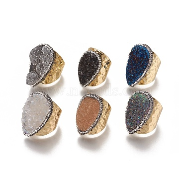 Natural Druzy Agate Cuff Rings, Open Rings, with Brass Findings and Rhinestone, Mixed Color, Size 7~8, 17.5~18.5mm(RJEW-E159-09G)
