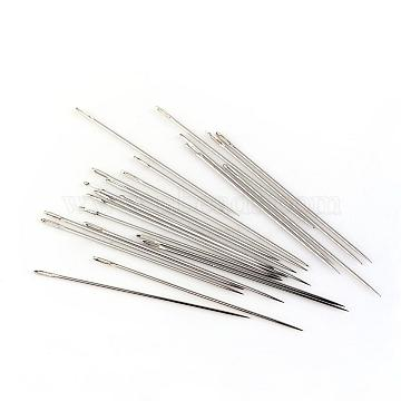 Iron Tapestry Needles, Platinum, 34x0.5mm, Hole: 2x0.5mm; about 26pcs/bag(IFIN-R219-36)