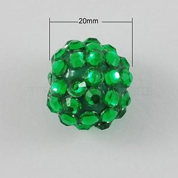 5PCS Chunky Round Resin Rhinestone Bubblegum Ball Beads, Lime Green, 20x18mm, Hole: about 2.5mm(X-RESI-S260-20mm-S7)