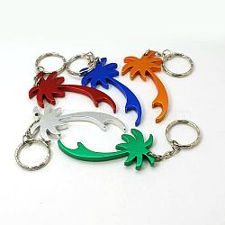 Aluminum Alloy Bottle Openners, with Iron Rings, Coconut Tree, Mixed Color, 118mm(AJEW-G001-06)