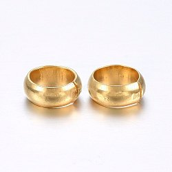 304 Stainless Steel Crimp Beads Covers, Golden, 6mm In Diameter, Hole: 4.5mm(X-STAS-O098-04G-01)