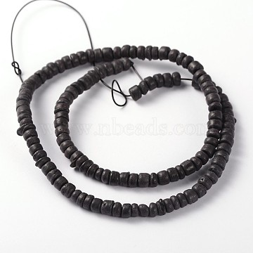 Natural Coconut Column Bead Strands, Black, 5x2~4.5mm, Hole: 1mm; about 15.4inches(X-COCB-O001-07)