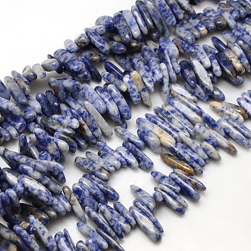 Natural Blue Spot Jasper Beads Strands, Chips, 13~26x4~8x4~6mm, Hole: 1mm; about 80~90pcs/strand, 15~16 inches(G-P033-03)