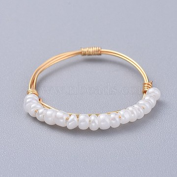 Glass Seed Beaded Rings, with Copper Wire, Golden, White, 19mm; 1~1.5mm(RJEW-JR00269-01)