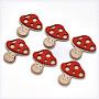 Faux Suede Cabochons, Mushroom, Red, 42.5x39x3mm
