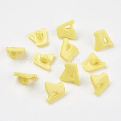 Boutons en acrylique, 1-trou, teint, lettre a, jaune, 14x13x2mm, Trou: 3mm(X-BUTT-E028-07)
