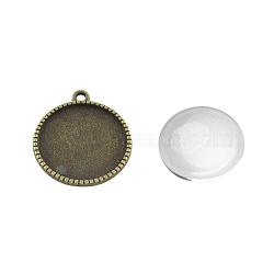 Подвесные материалы наборы, с сеттингами кабошон сплава кулон и стекла кабошонов, плоско-круглые, без кадмия, без никеля и без свинца, античная бронза, лоток : 16 мм; 22x18.5x2 мм, отверстия: 2 mm; 15.5~16x4~5 mm(DIY-X0288-41AB-NR)