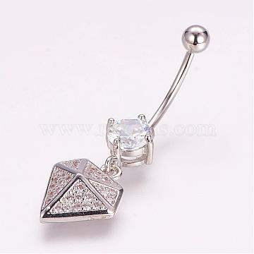 Piercing Jewelry, Brass Micro Pave Cubic Zirconia Belly Rings, with 304 Stainless Steel Pins, Diamond  Shape, Platinum, 36mm; Pin: 1.5mm (ZIRC-J017-16P)