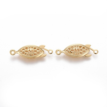 304 Stainless Steel Box Clasps, Multi-Strand Clasps, Horse Eye, Golden, 21.5x7x4mm, Hole: 1mm(STAS-P249-01G)