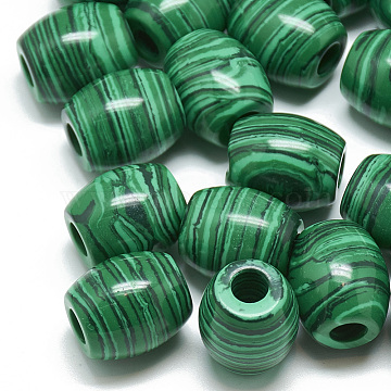 17mm Barrel Malachite Beads