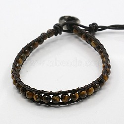 Bracelets de perles de pierre gemme de mode de la moelle, avec cordon en cuir et fermoirs en acier inoxydable, de couleur métal platine , oeil de tigre, 200x8mm(BJEW-J054-12)
