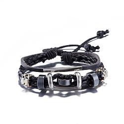 Alliage occasionnel réglable unisexe de zinc et bracelets en cuir tressé multi-brins, noir, 300mm(BJEW-BB15639-B)