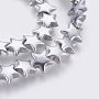 Electroplated Non-magnetic Synthetic Hematite Bead Strand, Grade AA, Star, Long-Lasting Plated, Real Platinum Plated, 8x8x3mm, Hole: 1mm; about 67pcs/strand, 15.43 inches(39.2cm)