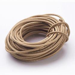 Cordon de perles en cuir, cuir de vachette, diy collier matériau de fabrication, Pérou, taille: environ 3 mm d'épaisseur(X-WL-A002-0)
