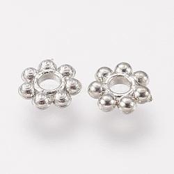 Séparateur perles en plastique CCB, fleur, platine, 6x1.5mm, Trou: 1.5mm(CCB-P004-18P)