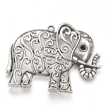 Tibetan Style Alloy Big Pendant Rhinestone Settings, Elephant, Cadmium Free & Lead Free, Antique Silver, Fit for 4mm Rhinestone, 50x64x8mm, Hole: 3mm, about 60pcs/1000g(TIBEP-T002-128AS-RS)
