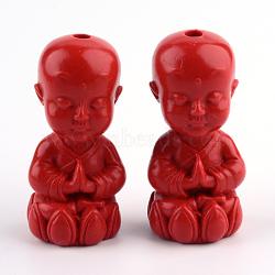Perles de cinabre moine bouddhiste, firebrick, 36.5x18x17.5mm, Trou: 3mm(CARL-Q004-26)