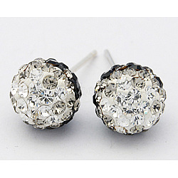 Austrian Crystal Ball Ear Studs, with Sterling Silver Pins, Mixed Color, 19x8mm, Pin: 0.8mm(X-EJEW-Q008-1)