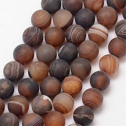 Natural Striped Agate/Banded Agate Bead Strands, Round, Grade A, Frosted, Dyed & Heated, CoconutBrown, 12mm, Hole: 1mm; about 32pcs/strand, 15inches