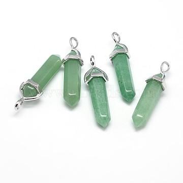 Platinum Bullet Green Aventurine Pendants