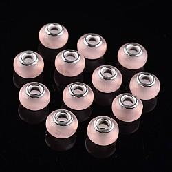 Perles européennes rondes avec grand trou en résine, avec de l'argent plaqué noyaux de cuivre, imitation d'oeil de chat, rose, 13.5~14x9mm, Trou: 5mm(RPDL-J050-10)