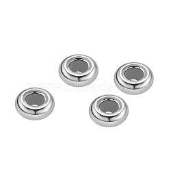 925 perles en argent sterling, Avec du caoutchouc intérieur, perles de curseur, perles de bouchage, rondelle, platine, 5x2 mm, trou: 0.5 mm; 4 pcs / ensemble (STER-BC0001-28P-A)