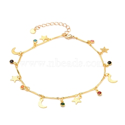 Brass Enamel Anklets, with Bar Link Chains and Lobster Claw Clasps, Star & Moon & Flower, Golden, Colorful, 9-7/8 inches(25cm)(AJEW-AN00302)