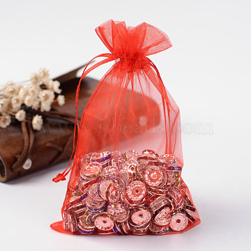 Organza Bags, Wedding Favour Bags, with Ribbons, Red, 15x10cm(X-OP-R016-10x15cm-01)