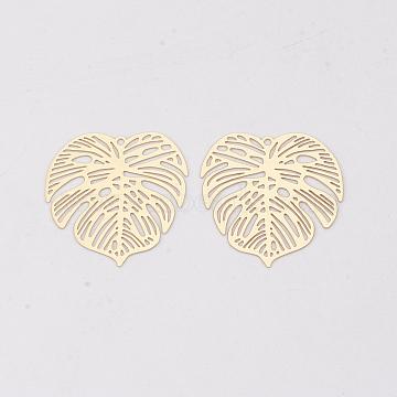 Brass Pendants, Etched Metal Embellishments, Long-Lasting Plated, Monstera Leaf, Light Gold, 26x26x0.3mm, Hole: 1.2mm(X-KKC-S001-016KC)