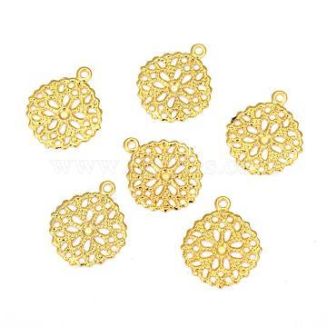 Flat Round Brass Flower Filigree Findings Charms Pendants, Golden, 15x13x0.5mm, Hole: 1mm(X-KK-O015-05G)