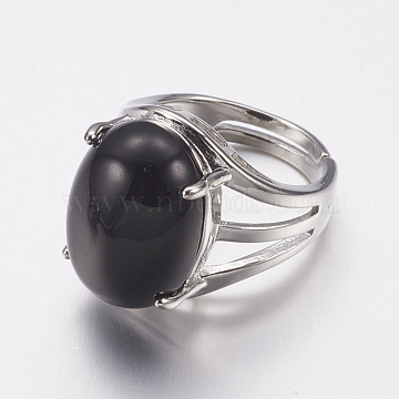 Natural Black Agate Wide Band Finger Rings, with Alloy Ring Findings, Oval, 18mm(RJEW-K224-A06)