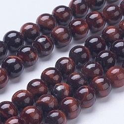 Naturelles oeil de tigre rouge perles brins, ronde, 8mm, trou: 1mm; environ 48 pcs/chapelet, 15.59