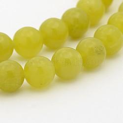 """Péridot naturel chapelets de perles rondes, 10mm, trou: 1mm; environ 40 pcs/chapelet, 15.7""""(G-P070-32-10mm)"""