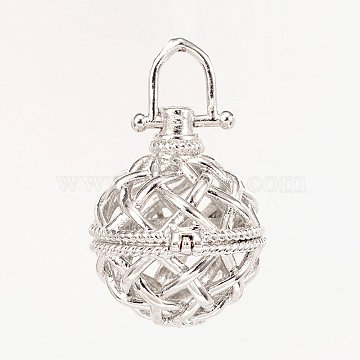 Environmental Rack Plating Brass Hollow Round Cage Pendants, For Chime Ball Pendant Necklaces Making, Cadmium Free & Nickel Free & Lead Free, Platinum, 27x24x21mm, Hole: 6x5mm; inner: 18mm(KK-M180-20P-NR)