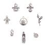 Football Theme Tibetan Style Alloy Pendants, Mixed Shapes, Antique Silver, 7.4x7.3x2.5cm; 80pcs/box