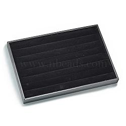 Imitation Leather and Wood Ring Display, Rectangle, Black, 24.5x35.5x3cm(RDIS-R030-01)