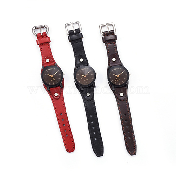 Wristwatch, Quartz Watch, Alloy Watch Head and PU Leather Strap, Mixed Color, 9-1/2 inches~10 inches(24.1~25.5cm), 19.5x2.5~3mm, Watch Head: 39.5x42x14~14.5mm(WACH-I017-08)