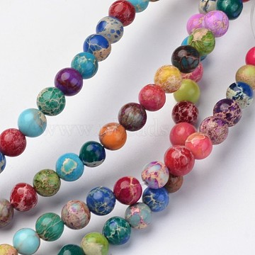 Natural Imperial Jasper Beads Strands, Round, Dyed, Colorful, 6mm, Hole: 1mm; about 62pcs/strand, 15inches.(X-G-I122-6mm-14)